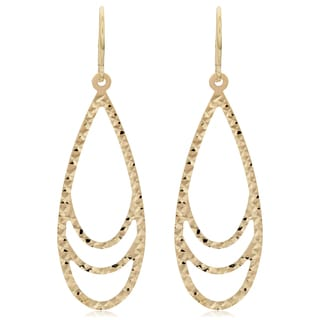 Fremada 10k Yellow Gold Diamond-cut Surfaced Teardrop Dangle Earrings