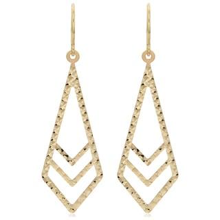 Fremada 14k Yellow Gold Diamond-cut Surfaced Inverted Kite Dangle Earrings