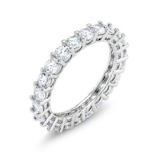 White Brass Rhodium-plated Round-cut Cubic Zirconia Eternity Ring