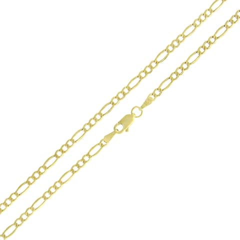 """10k Yellow Gold 2.5mm Hollow Figaro Link Necklace Chain 16"""" - 24"""""""