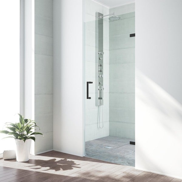 Vigo Soho 30 Inch Adjule Frameless Shower Door With Clear Gl And Matte Black Hardware