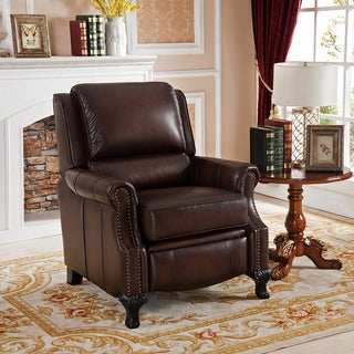 Princeton Top Grain Leather Pushback Recliner with Memory Foam Seating