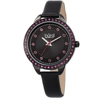 Burgi Women's Quartz Swarovski Crystal Black Leather Strap Watch