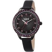 Burgi Women's Quartz Swarovski Crystal Watch with Leather Strap