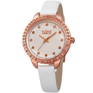 Burgi Women's Quartz Swarovski Crystal White Leather Strap Watch