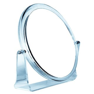 Round Acrylic 5x Magnficiation Stand Mirror Plus Free 3-in-1 Compact Mirror