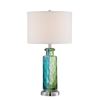 Tynice Blue/Green Glass and Fabric Table Lamp