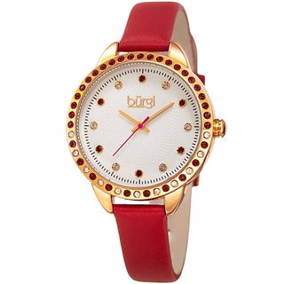 Burgi Women's Quartz Swarovski Crystal Red Leather Strap Watch