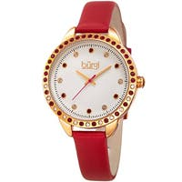 Burgi Women's Quartz Swarovski Elements Crystal Red Leather Strap Watch