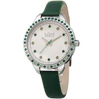 Burgi Women's Quartz Swarovski Crystal Green Leather Strap Watch