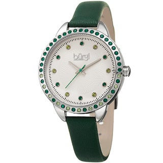 Burgi Women's Quartz Swarovski Crystal Green Leather Strap Watch