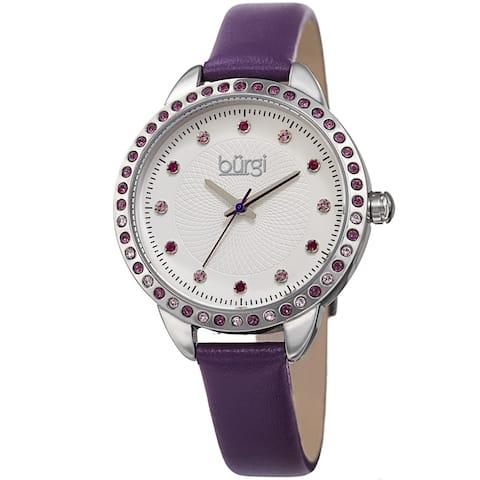 Burgi Women's Quartz Swarovski Crystal Purple Leather Strap Watch