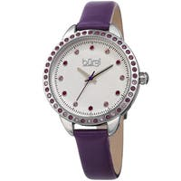 Burgi Women's Quartz Swarovski Crystal Purple Leather Strap Watch with FREE Bangle
