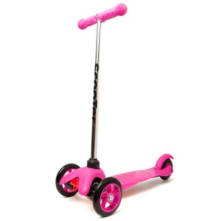 Oxgord Black/Pink Kids 3-wheel Scooter with Easy Grip T-bar Handle
