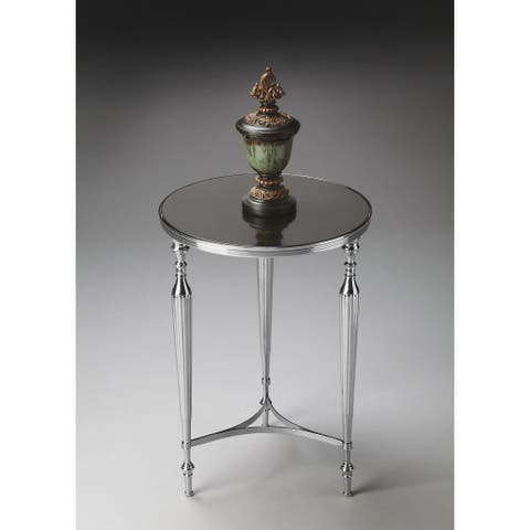 Handmade Butler Silver Nickel Finish Aluminum and Glass End Table (India)