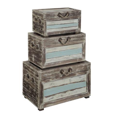 "Somette Set of 3 Nesting Trunks, Islander Multicolor - 29""L x 17""W x 19""H"