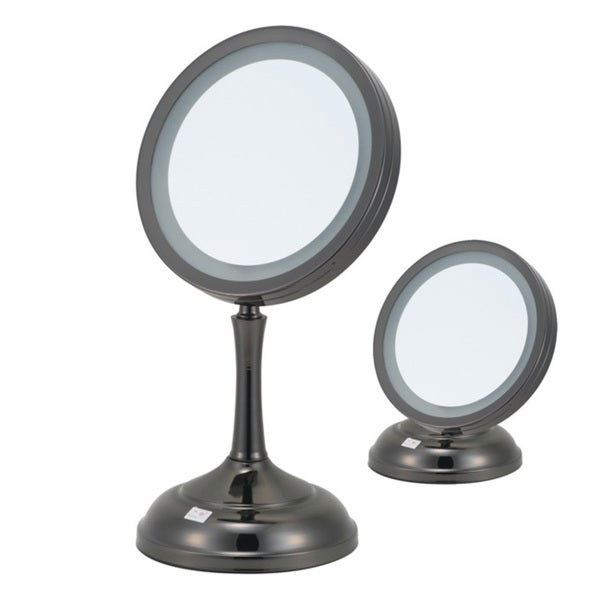 7x 1x magnification dual height gun metal lighted vanity mirror free shipping on orders over. Black Bedroom Furniture Sets. Home Design Ideas
