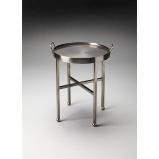 Butler Silver Metal Finish Iron Side Table