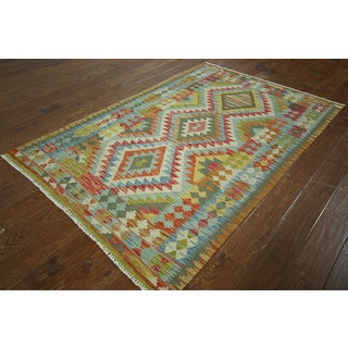 Multicolor Wool Flat-weaved Oriental Kilim Rug (4'2 x 6'5)