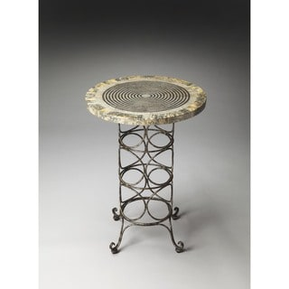 Butler Markham Grey/Green/Off-white Natural Stone/Wood/Iron Accent Table