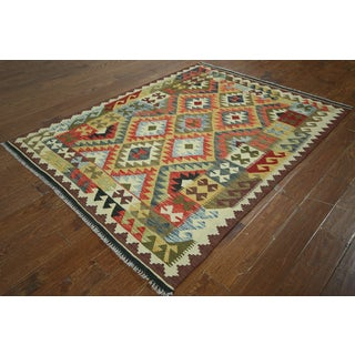 Multicolored Wool Flat-weaved Oriental Kilim Rug (5'0 x 6'6)
