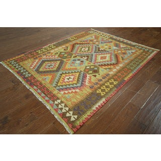 Multicolor Wool Flat-weaved Oriental Kilim Rug (5'6 x 6'8)