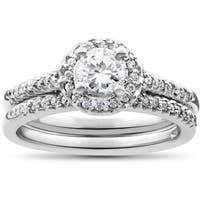 14k White Gold 7/8ct Round Halo Diamond Engagement Matching Wedding Ring Set