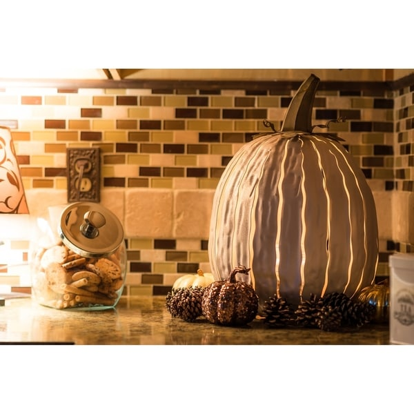 Desert Steel White Tall Pumpkin Luminary
