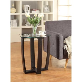 Convenience Concepts Newport Espresso Finish Glass and Wood Chairside Table