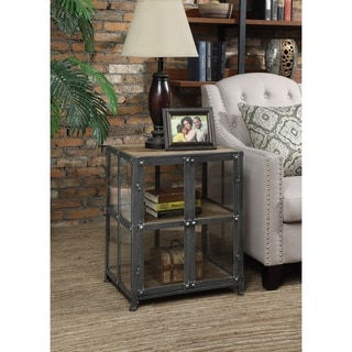 Convenience Concepts Designs2Go Viking Silver Finish Metal and Glass End Table