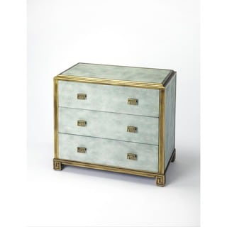 Butler Artemis Shagreen Green and Gold Blue Finish Wood/MDF/Metal/Leather Console Chest