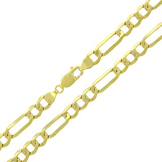"""10k Yellow Gold 6.5mm Hollow Figaro Link Necklace Chain 24"""" - 30"""""""
