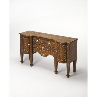 Butler Chevrier Brown Wood and MDF Bone Inlay Console Chest