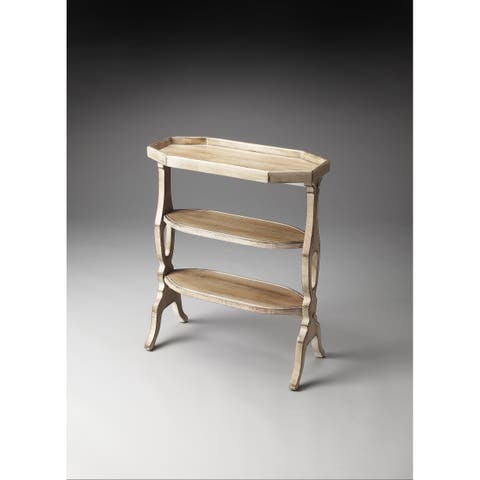 Butler Distressed Solid Rubberwood Accent Table in Driftwood Finish