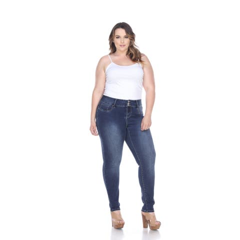White Mark Women's Plus Size Super Stretch Denim Jean