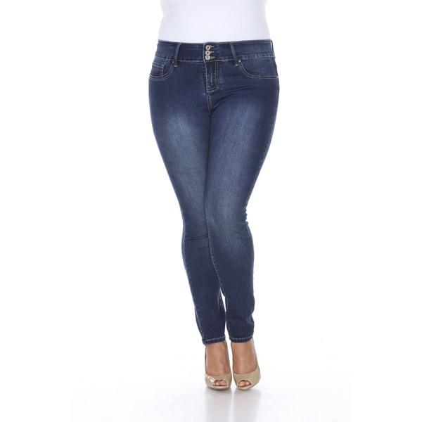 White Mark Women's Plus Size Super Stretch Denim Jean - Free ...