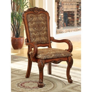 Furniture of America Elantia Traditional Cherry Arm Chair (Set of 2)