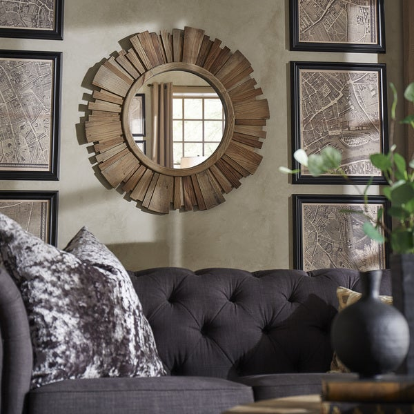 Canyon Round Reclaimed Wood Starburst Wall Mirror Inspire Q Modern Brown