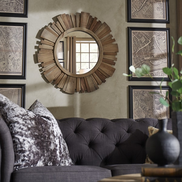 shop canyon round reclaimed wood starburst wall mirror inspire q