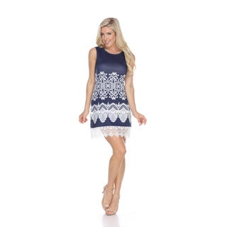 White Mark Women's Diem Lace Trim Shift Dress