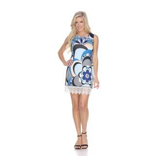 White Mark Women's 'Mireya' Blue and Red Sleeveless Dress