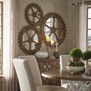 Quinn Reclaimed Wood Gear Wall Art Mirror By INSPIRE Q Artisan
