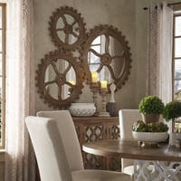 Quinn Reclaimed Wood Gear Wall Art Mirror by iNSPIRE Q Artisan - Taupe