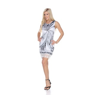 White Mark Women's Quinn Polyester, Spandex Tunic Dress with Lace Hem