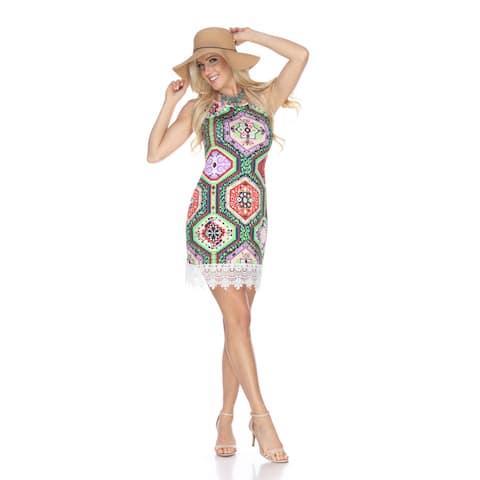 White Mark Women's Thea Multicolor Tunic Dress