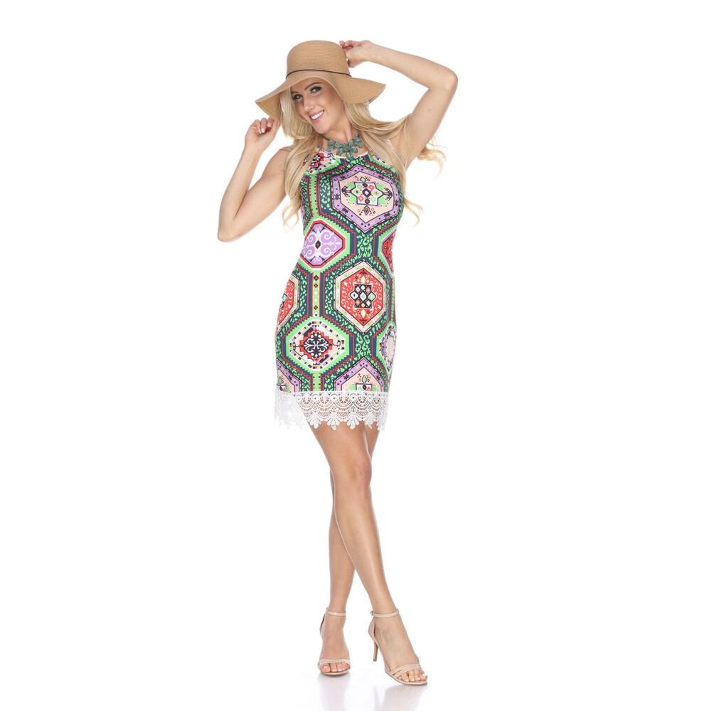White Mark Womens Thea Multicolor Tunic Dress