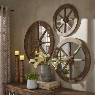 Moravia Round Reclaimed Wood Wagon Wheel Wall Mirror by SIGNAL HILLS