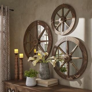 Moravia Round Reclaimed Wood Wagon Wheel Wall Mirror by iNSPIRE Q Artisan