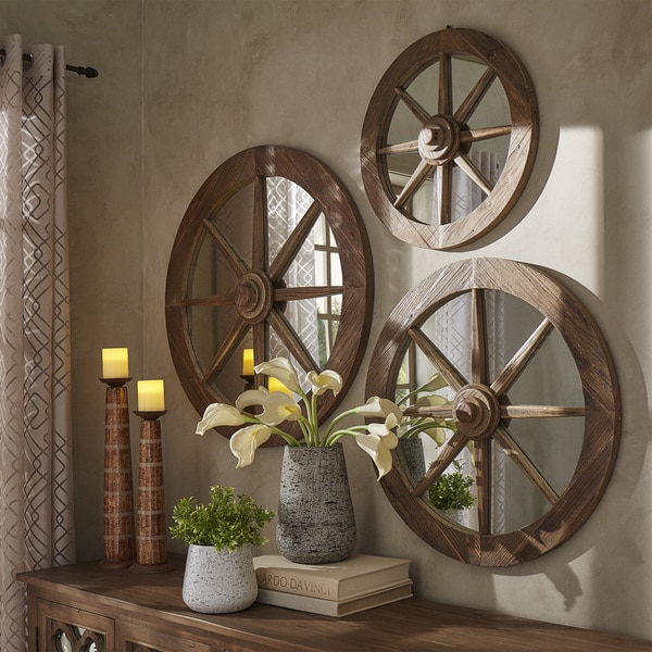 Favorite Moravia Round Reclaimed Wood Wagon Wheel Wall Mirror by iNSPIRE Q  XF63
