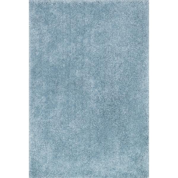 Hand-tufted Light Blue Modern Shag Rug - 9'3 x 13'